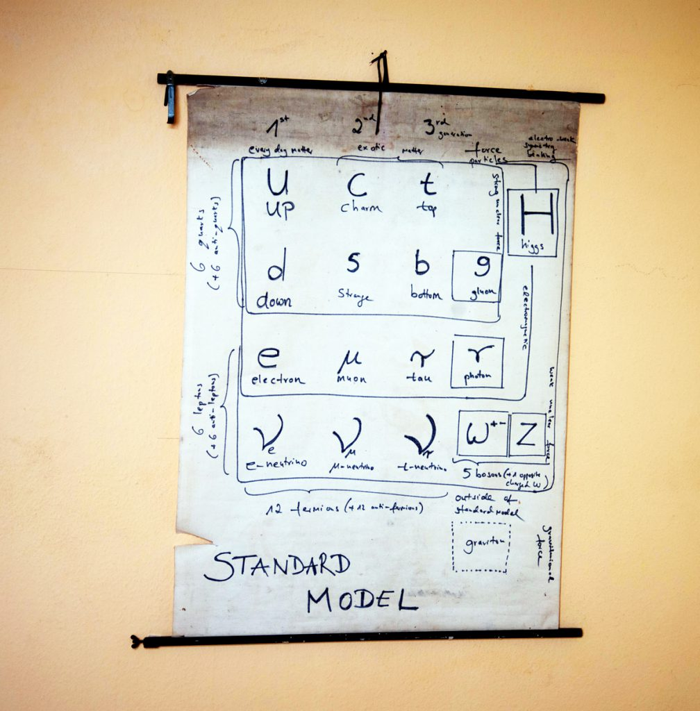"Photo of an art installation called ""View of time - standard model of physics"" - it is a poster on a wall"