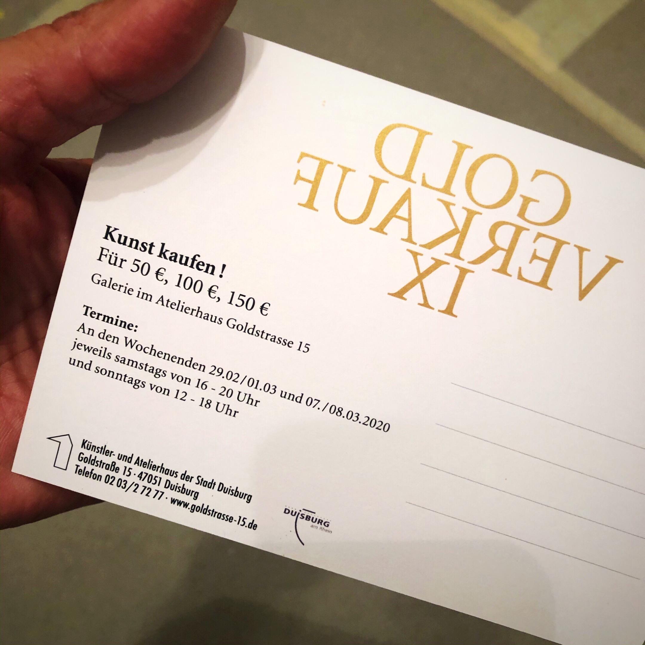 """Ausstellung """"Gold Verkauf IX"""" im Atelierhaus Duisburg"""